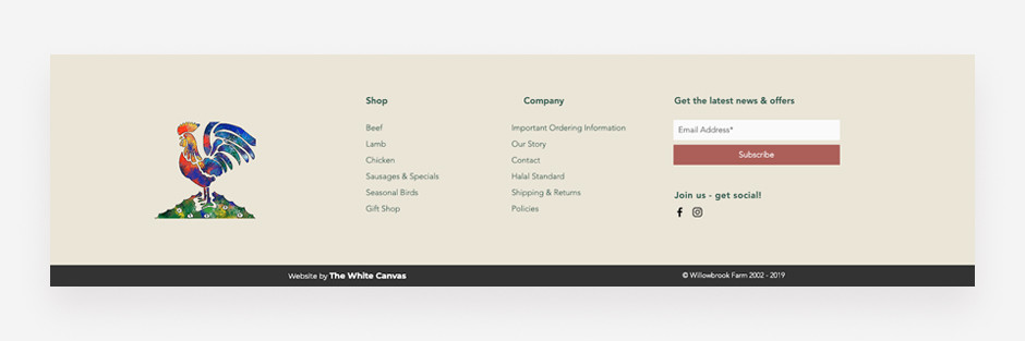 Website footer example by Willowbrook Farm