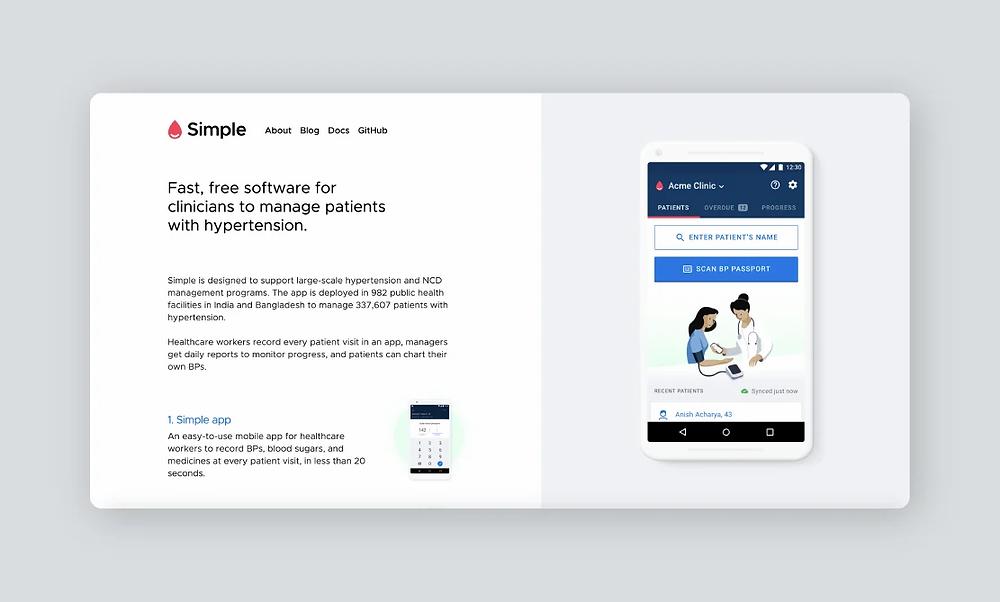 Simple healthcare app