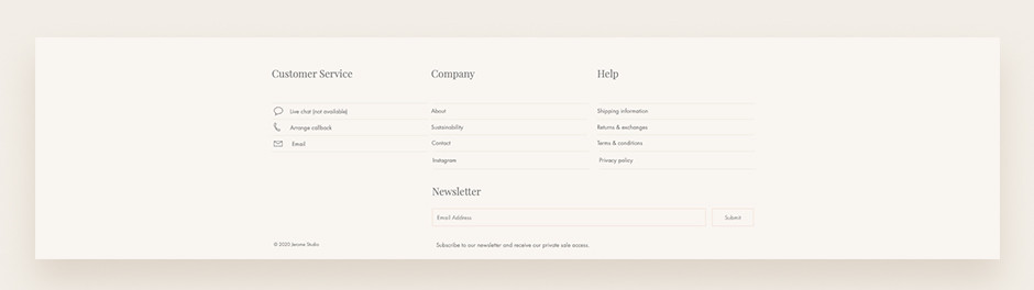 Website footer example by Jerome Studio