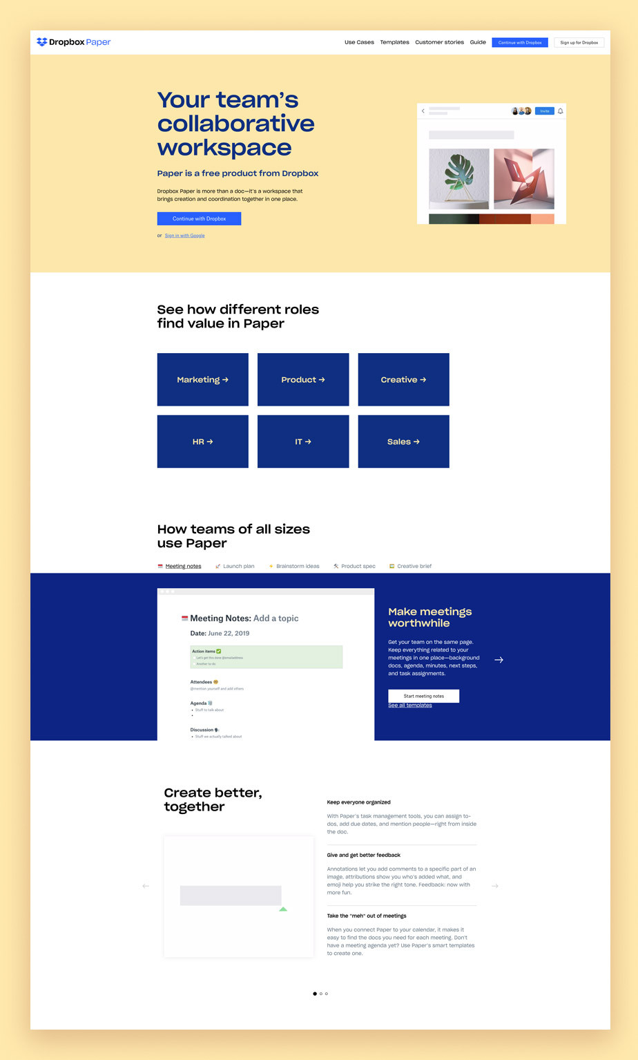 Landing page example by Dropbox