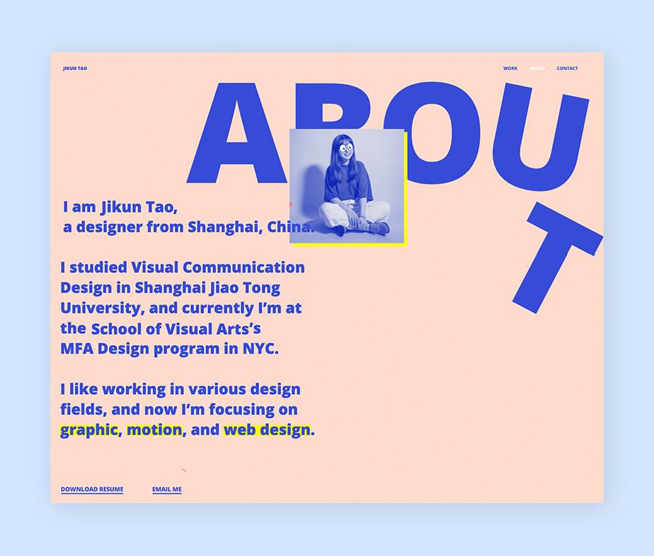 Online portfolio by graphic designer Jikun Tao