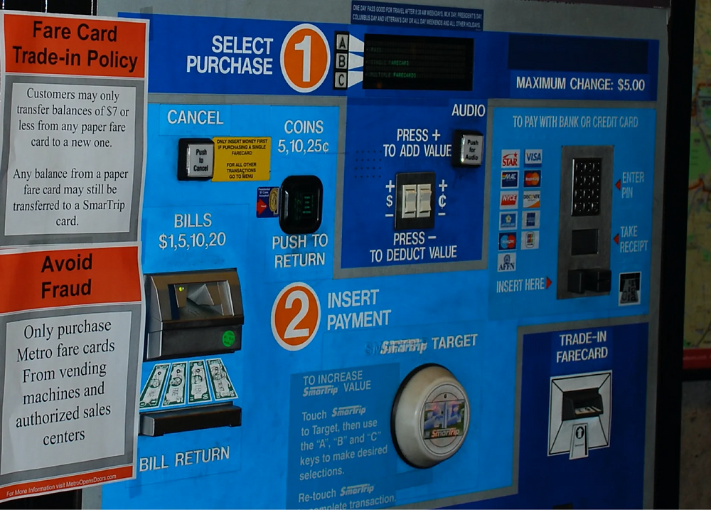 Train ticket machine with confusing UX