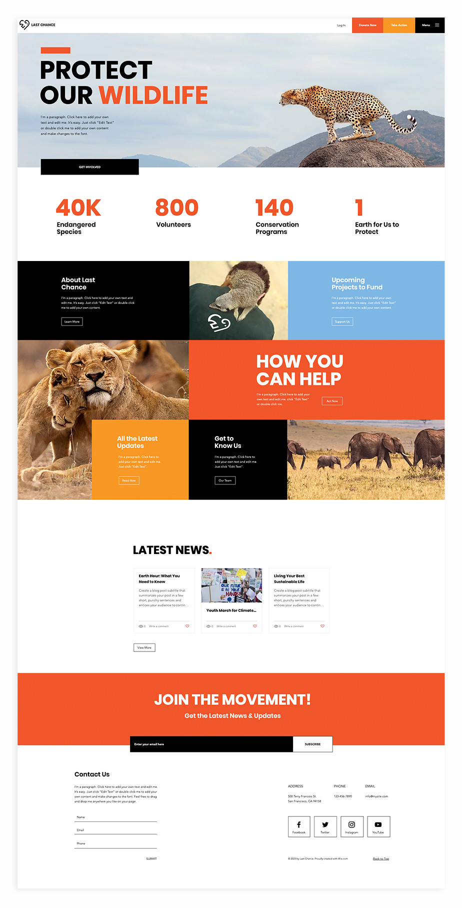 Nonprofit website template for wildlife conservation