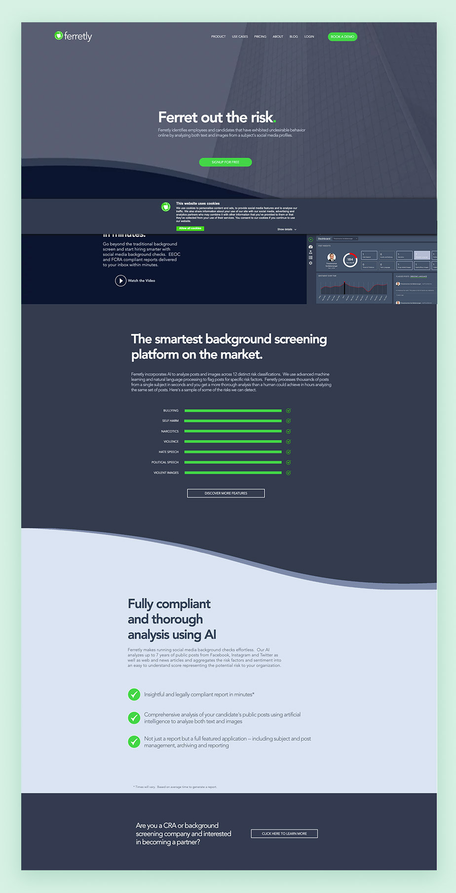 Landing page example by Ferretly