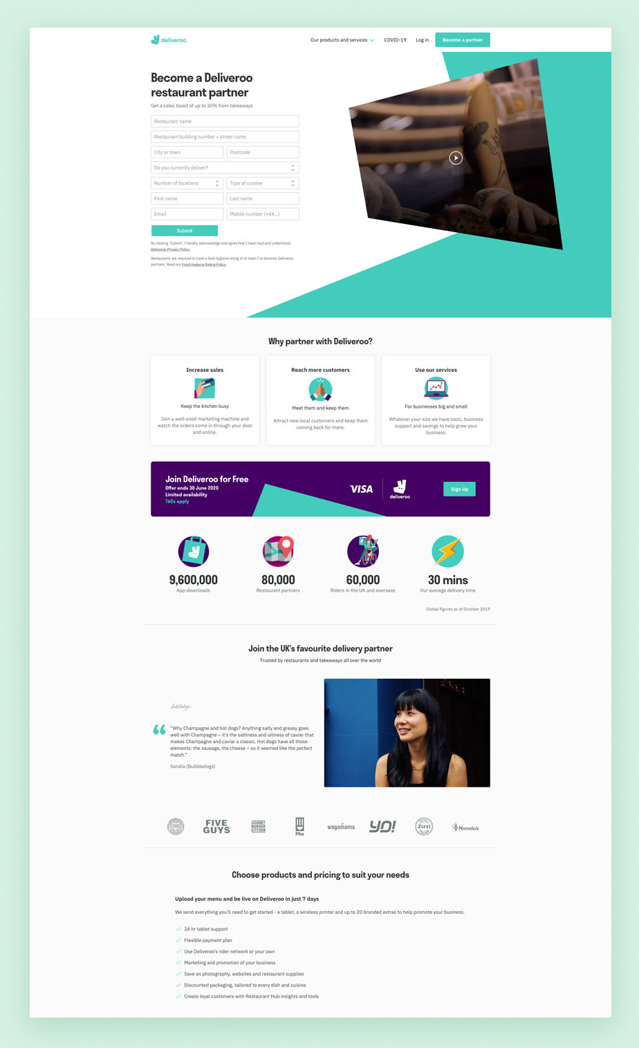Landing page example by Deliveroo