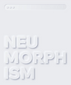 The word 'neumorphism' on a white background designed in a neumorphic style