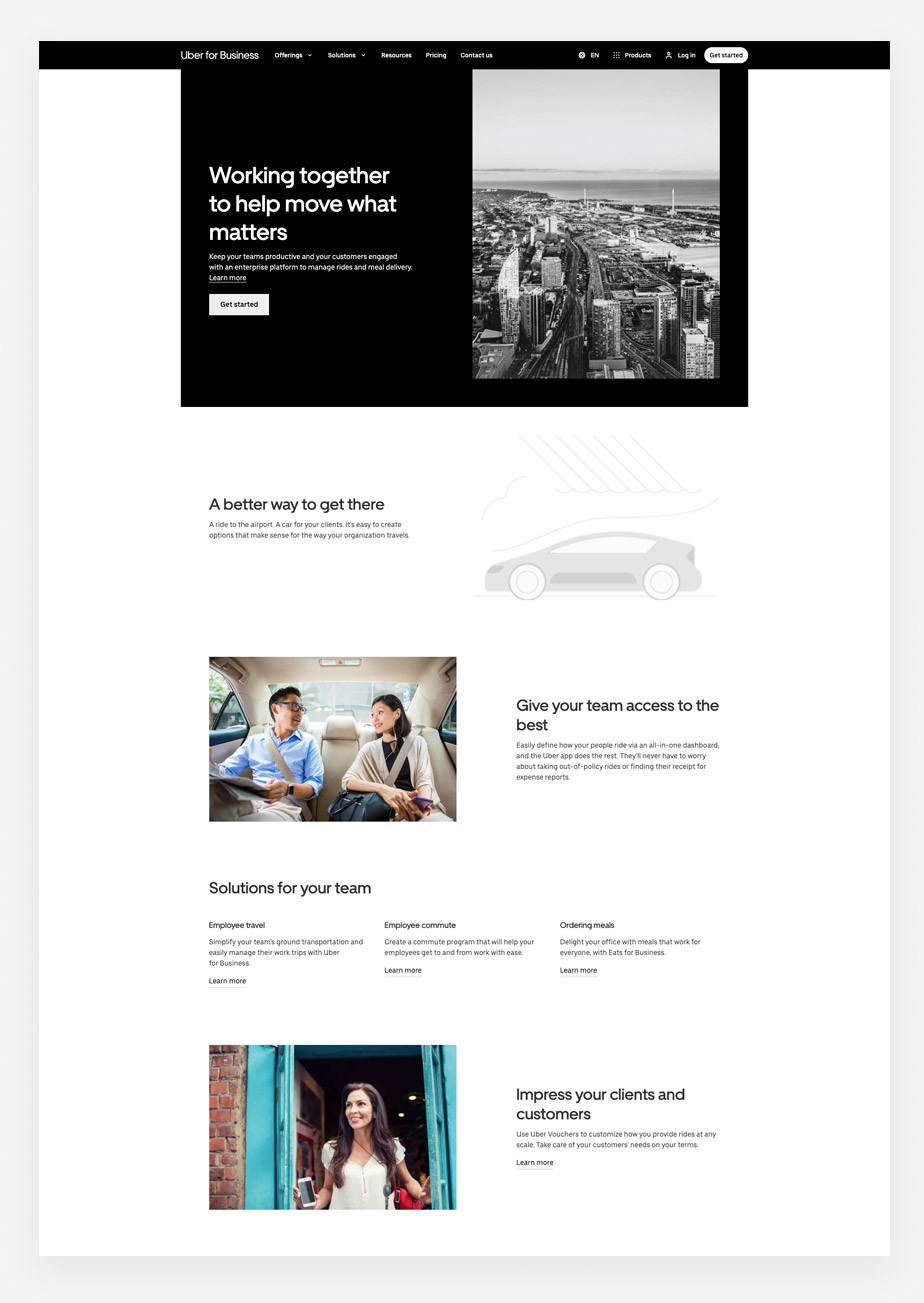 Landing page example by Uber