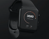 Black smartwatch indicating number of calories burned