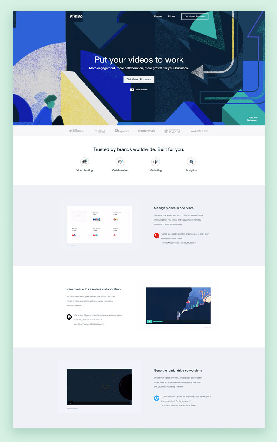 Landing page example by Vimeo