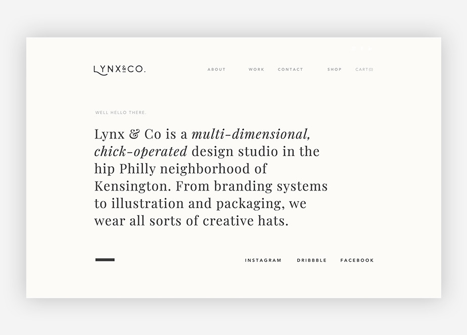 Graphic design website inspiration by Lynx & Co