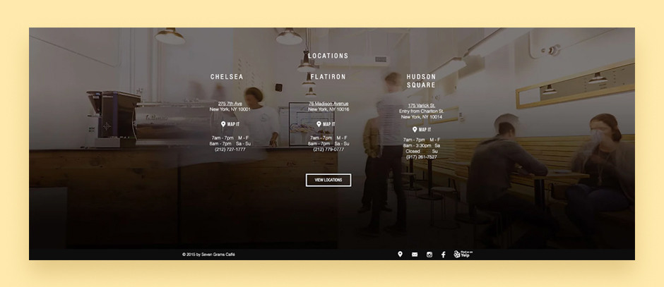 Website footer example by Seven Grams Caffe