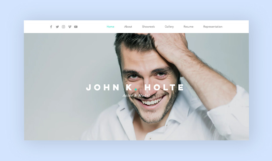 Website template for online modeling portfolio