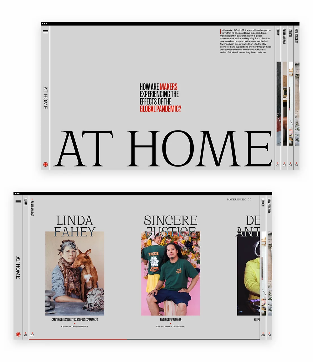 Best web design of 2020: At Home by Upperquad