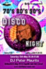 Disco Night party op 13 mei met Dj Peter Maurits.  Lekkere dansmuziek uit de 70's, 80's, 90's and more voor singles en stellen