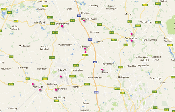Map of Cheshire East SCITT Partner Schools