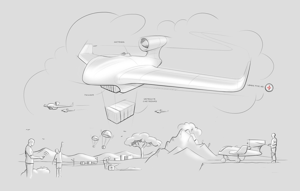 Wings For Aid - Conceptual visualisation drone