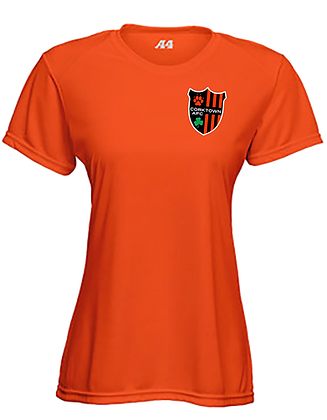 Orange Women's Fitted Soft T-shirt with Embroidered Patch