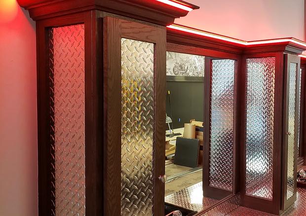 Barbershop Wood Cabinet LED Trim Presented by Global Glow Lighting Design