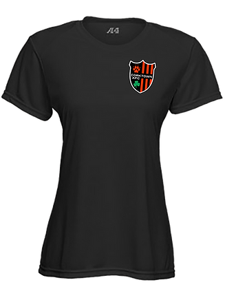 Black Women's Fitted Black Soft T-shirt with Embroidered Patch