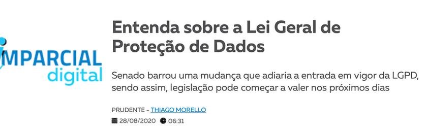 Matério no jornal O Imparcial sobre LGPD
