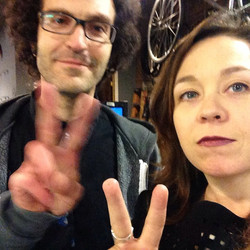 Latergram of Daniel and KM at the #nprtinydeskcontest taping at _redlanternbikes