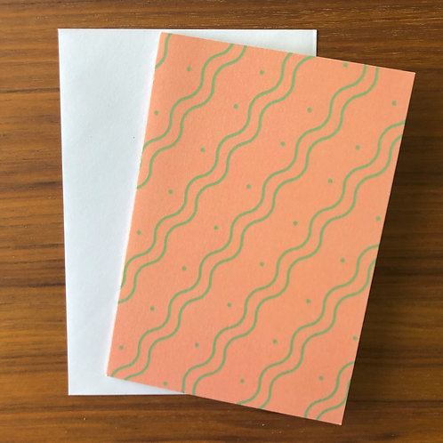 The Wiggle Stripe Card in Pink
