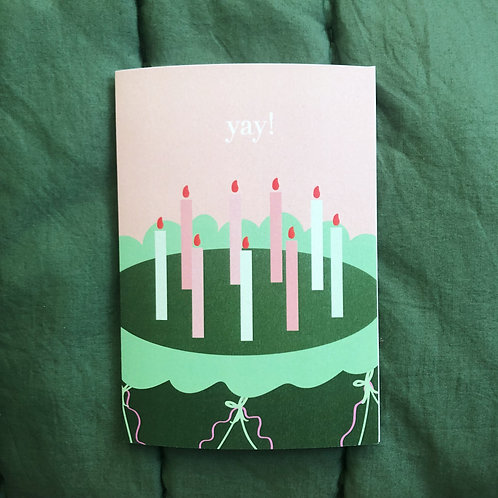 Candles Card in Pink & Green