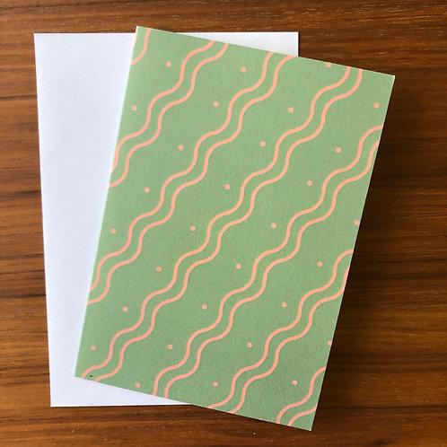 The Wiggle Stripe Card in Green