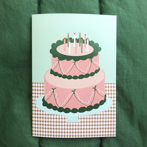 Cake Card in Blue & Pink