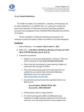 Enagic Announcement For April 5, 2021