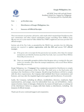 Enagic - Notice to Distributors - Offici