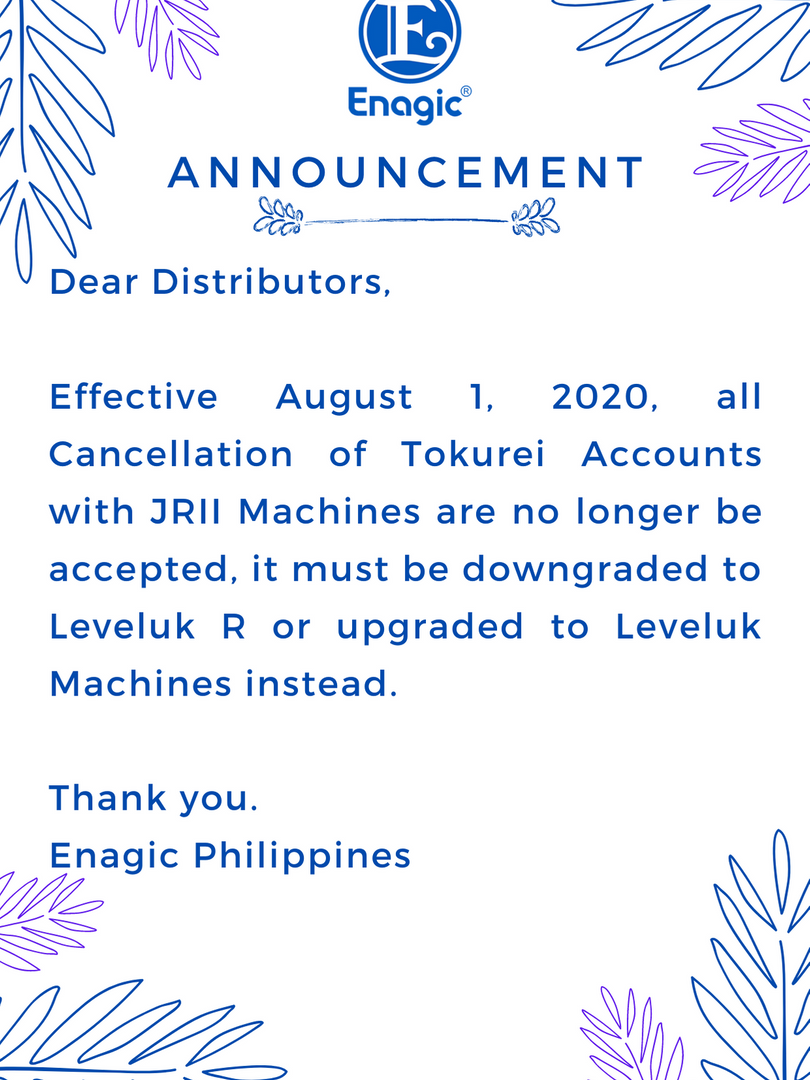 Cancellation of Tokurei Accounts with JRII Machines