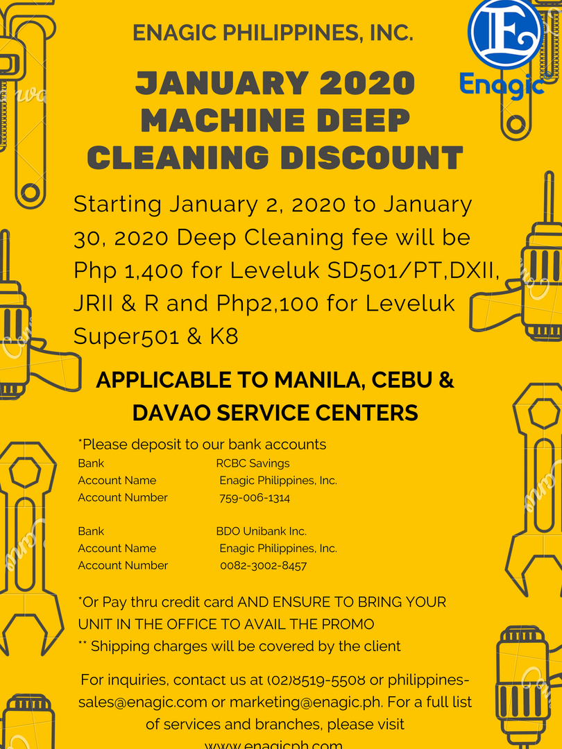 January 2020 Machine Deep Cleaning Promo