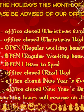 Enagic PH Holiday Schedule