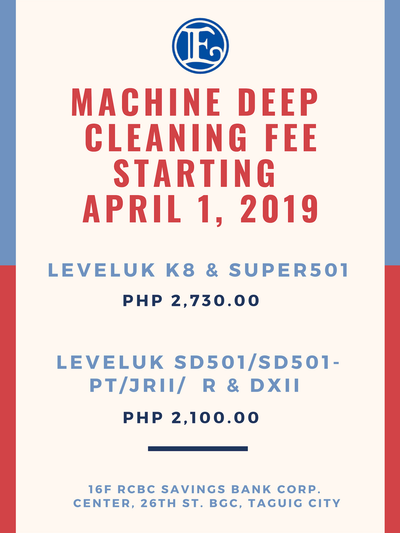 Machine Deep Cleaning Fee Starting April 1, 2019