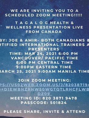T A G A L O G Health & Wellness Presentation Live from Canada !