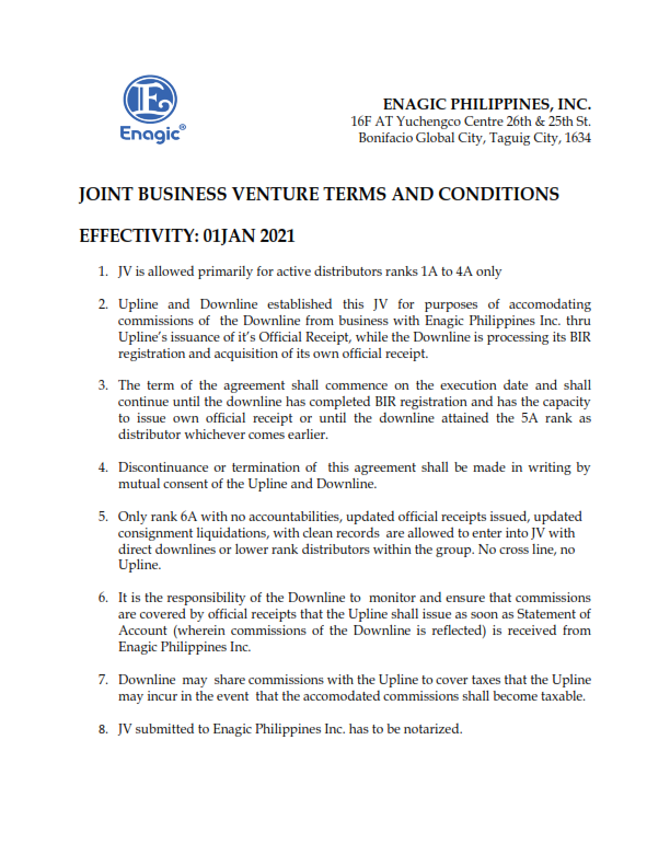 JOINT BUSINESS VENTURE TERMS AND CONDITIONS