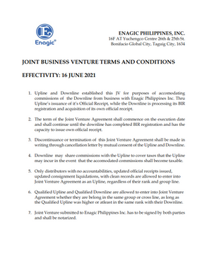 Joint Business Venture Terms & Condition
