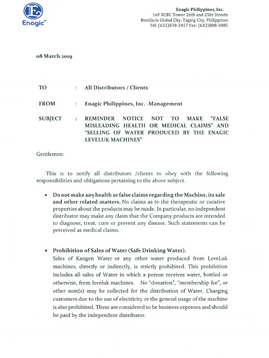 """Reminder Notice Not to Make """"False Misleading Health or Medical Claims"""" and """"Selling of Water Produced by the Enagic Leveluk Machines"""""""