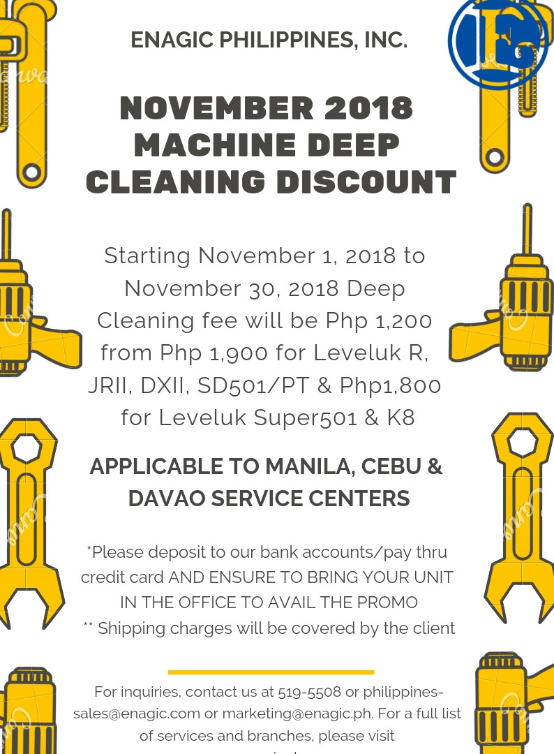 Machine Deep Cleaning Discount! Starting November 1 to 30, 2018