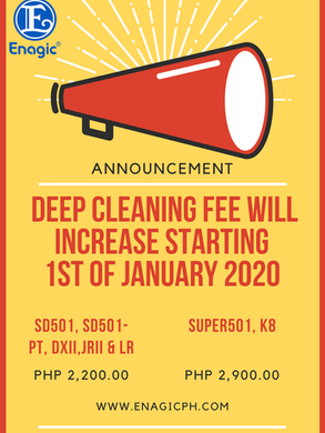 New Deep Cleaning Fee Rate Starting January 2020