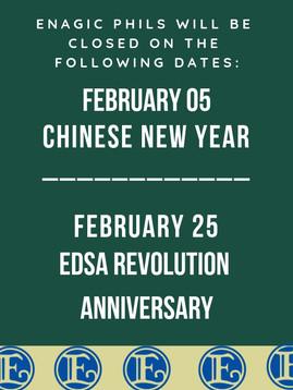 Enagic Philippines February 2019 Holiday Announcement