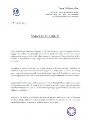 Enagic - Notice to the Public