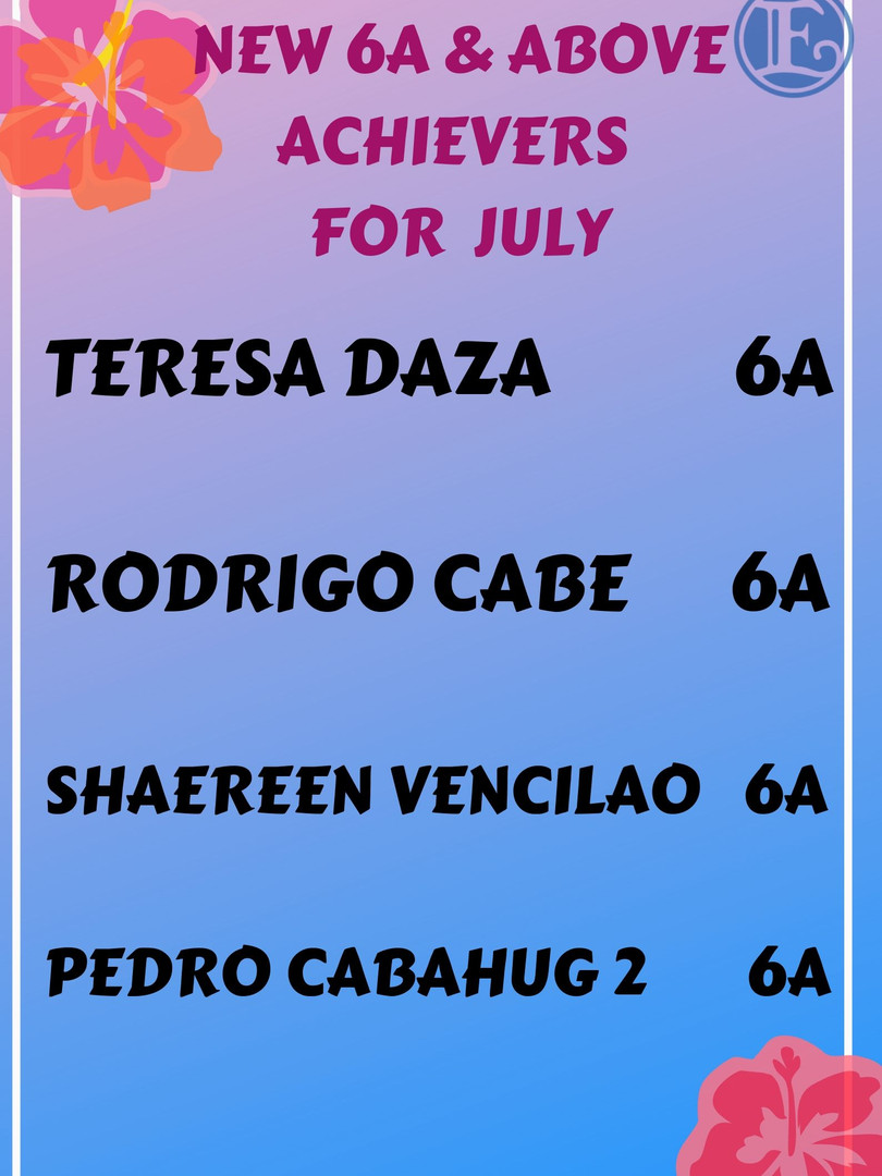 New 6A and Above Achievers for July 2019