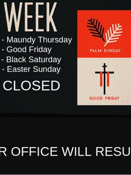 Enagic PH Holy Week Schedule