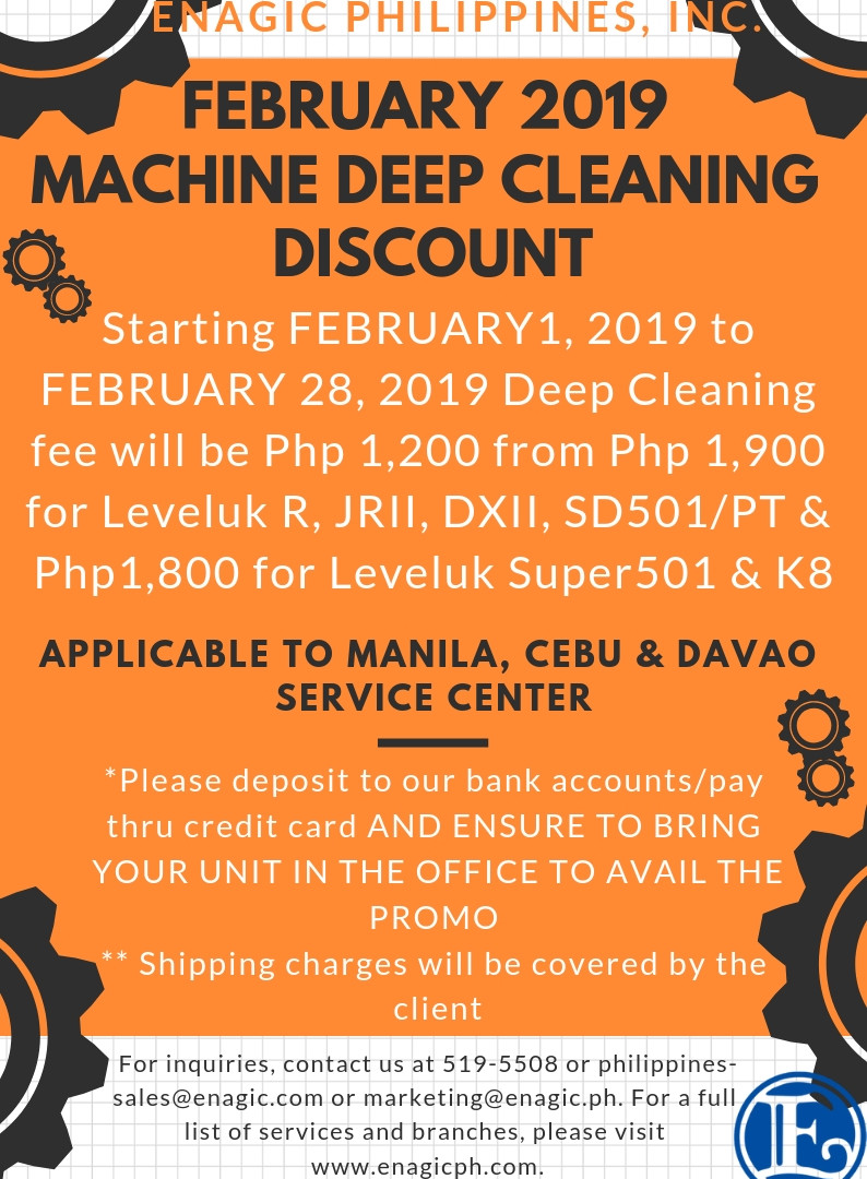 Machine Deep Cleaning Discount February 2019