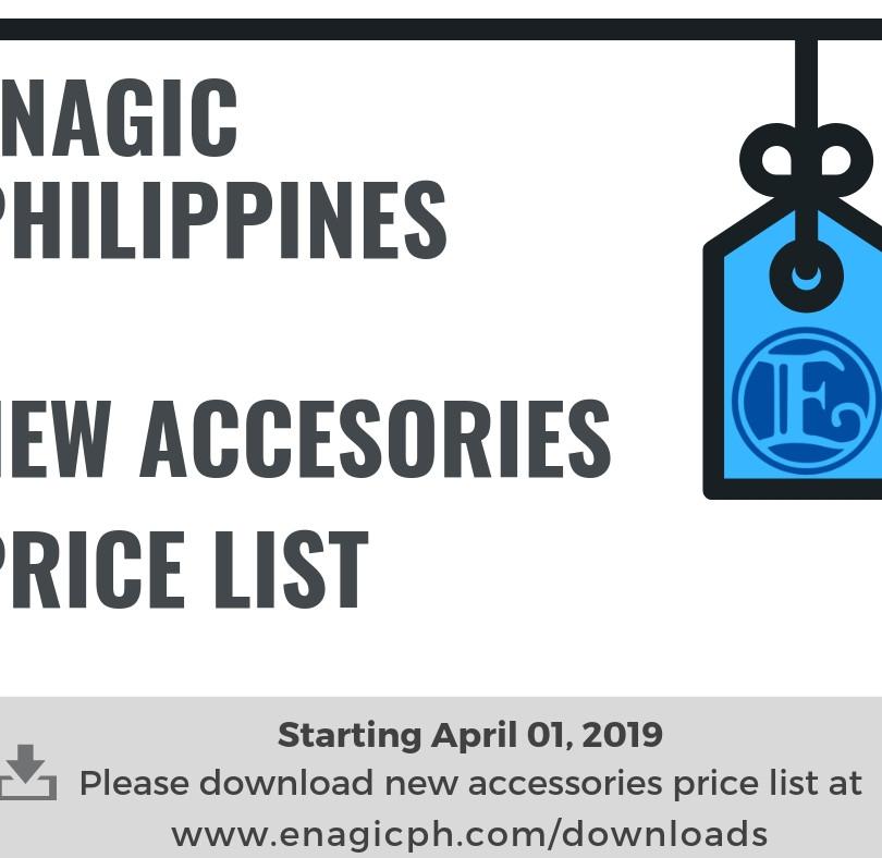 New Accessories Price List April 1, 2019