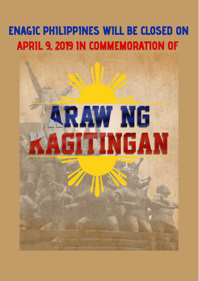 Enagic PH is closed on April 9, 2019 in commemoration of Day of Valor