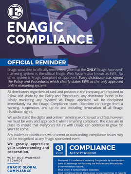 Enagic Global Compliance Official Reminder