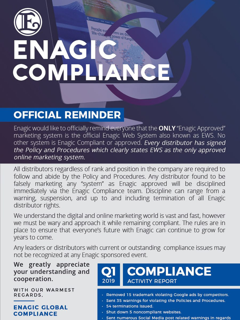 Enagic Global Compliance Official Reminder